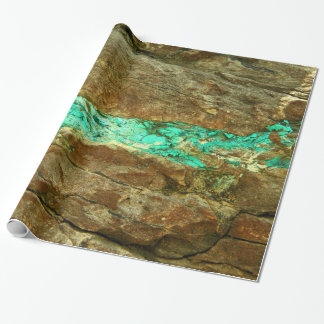 Natural turquoise vein in rough brown stone wrapping paper