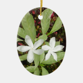 Natural White Beautiful Flower Ceramic Oval Ornament