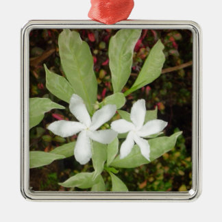 Natural White Beautiful Flower Silver-Colored Square Ornament