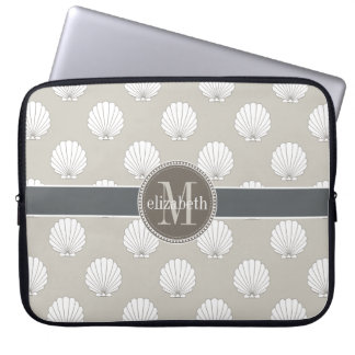 Natural | White Clamshells Seashells Monogram Laptop Sleeve