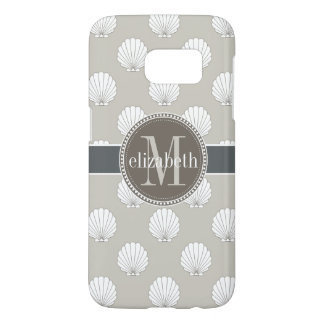 Natural | White Clamshells Seashells Monogram Samsung Galaxy S7 Case