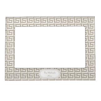 Natural   White Greek Key Pattern Monogram Magnetic Frame