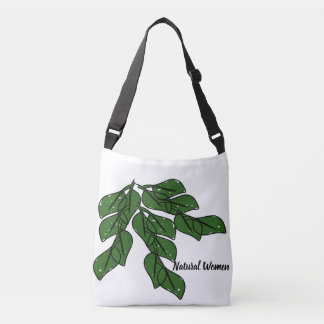 Natural women with green leafs design on tote bag