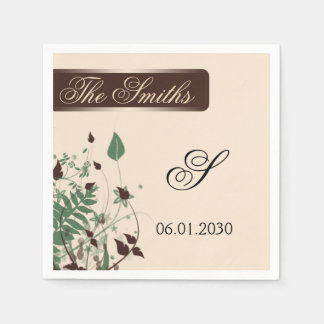 Natural Wonder in Ivory and Brown Wedding Paper Napkin