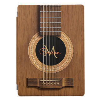 Natural Wood Acoustic Guitar Monogram iPad Pro Cover