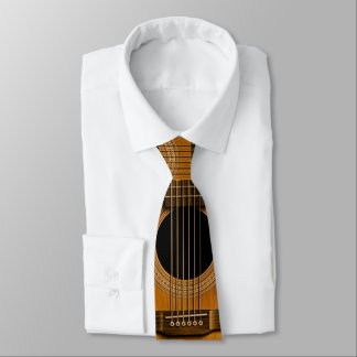 Natural Wood Acoustic Guitar Music Tie