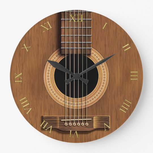 Natural Wood Look Acoustic Guitar Music Large Clock