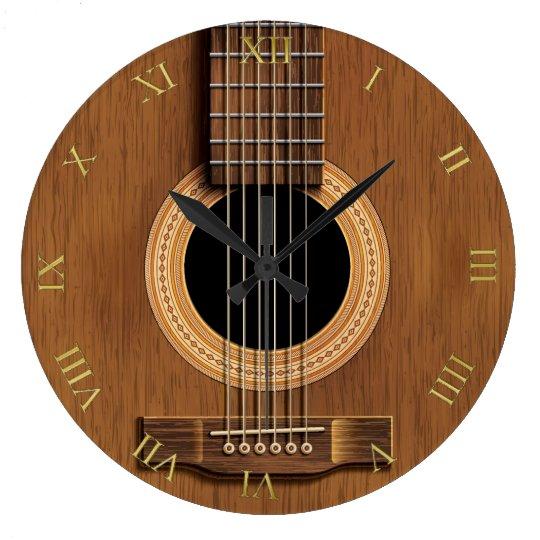 Natural Wood Look Acoustic Guitar Music Wallclock