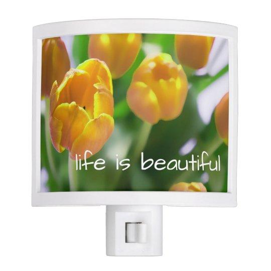Natural Yellow Tulips Flower Design Night Light