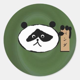 naturalgreenswirl, panda classic round sticker