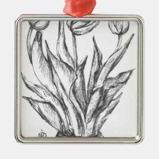 nature, abstract, flowers, foliage , grunge Silver-Colored square ornament