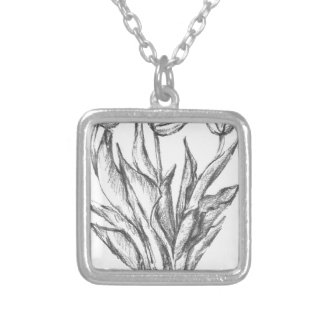 nature, abstract, flowers, foliage , grunge silver plated necklace