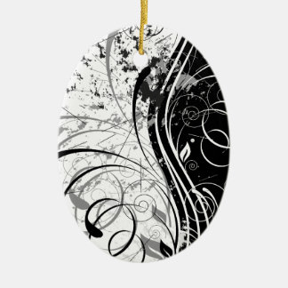 nature, abstract, trees, foliage , grung ceramic oval ornament