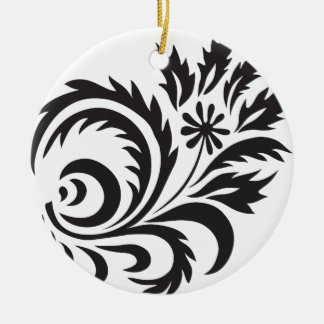 nature, abstract, trees, foliage , grung, daisy round ceramic ornament