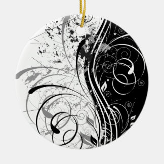 nature, abstract, trees, foliage , grung round ceramic ornament
