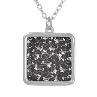 nature, abstract, trees, foliage , grung silver plated necklace