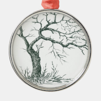 nature, abstract, trees, foliage , grunge Silver-Colored round ornament