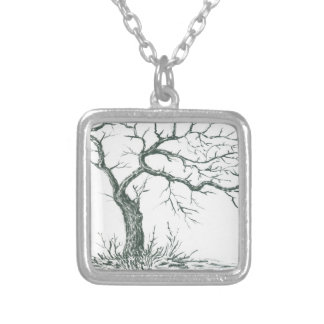 nature, abstract, trees, foliage , grunge silver plated necklace