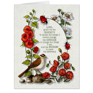 Nature Art, Serenity Prayer: Bird Ladybugs Flowers Card