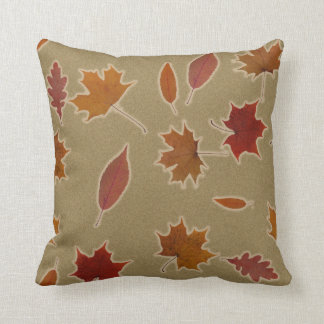 Nature Autumn Leaves with Glow on Custom Colour Throw Pillow