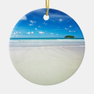Nature Beach Tropical White Sands Round Ceramic Ornament