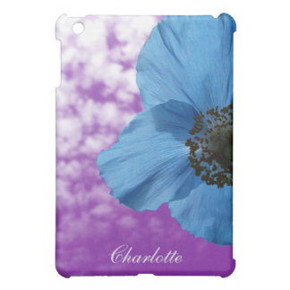 Nature Blue Poppy Flower Purple Sky with Monogram Cover For The iPad Mini