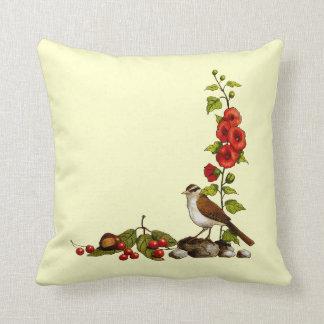 Nature Border in Color Pencil: Bird, Hollyhocks Throw Pillow