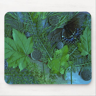 Nature collage in green & blue mouse pad