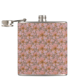 Nature Collage Print Hip Flask