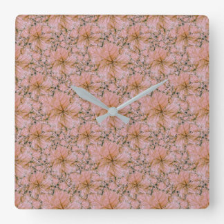 Nature Collage Print Square Wall Clock