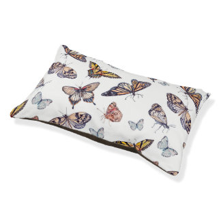 Nature Decor Watercolor Butterfly Pattern Pet Bed