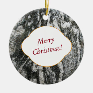 Nature Decorative Cat Fur Looking Rock with Text Ceramic Ornament