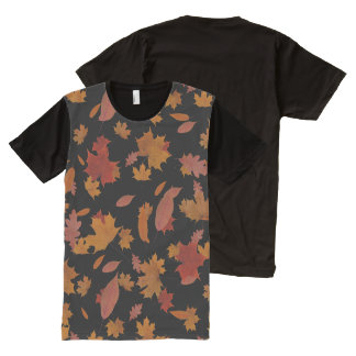 Nature Falling Autumn Leaves on Custom Black All-Over-Print T-Shirt