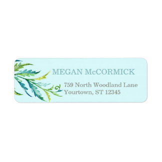 Nature Fern Aqua/Teal Return Address Label