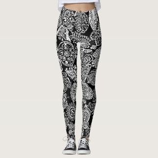 Nature Floral Pattern Butterfly Om Leggings