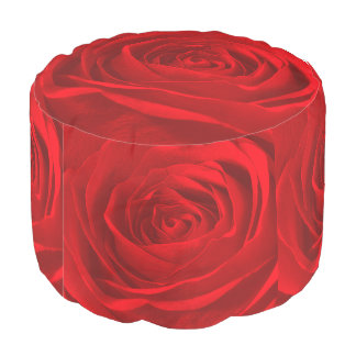 Nature Floral Photography Vibrant Red Rose Pouf