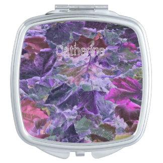 Nature Foliage Pattern Pink and Purple Makeup Mirror