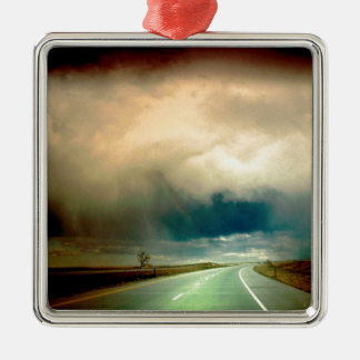Nature Forces The Storm Looming Ahead.jpg Silver-Colored Square Ornament