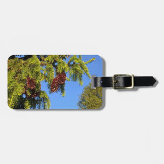 Nature forest photo luggage tag with branch