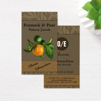 Nature Fruit Photo Custom Template Vintage Floral Business Card