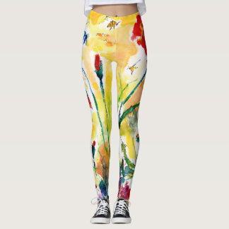 Nature Girl Provence Poppies and Wildflowers Leggings