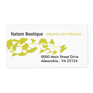 Nature Green Autumn Golden Ginkgo Shipping Label