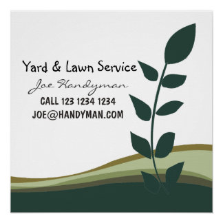 Nature Green Branch Yard Work Landscaping Business Perfect Poster