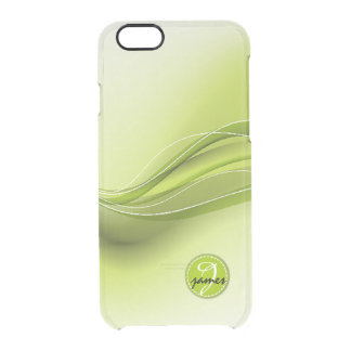 Nature Green Modern Waves Monogram Clear iPhone 6/6S Case