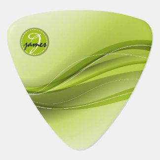 Nature Green Modern Waves Monogram Guitar Pick