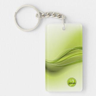 Nature Green Modern Waves Monogram Keychain
