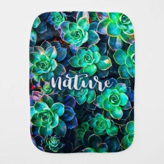 Nature Green Succulent Photo Burp Cloth