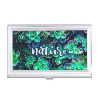 Nature Green Succulent Photo Business Card Holder
