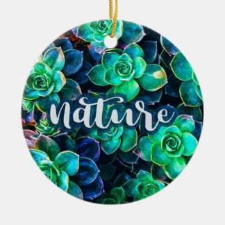 Nature Green Succulent Photo Ceramic Ornament
