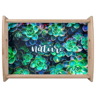 Nature Green Succulent Photo Serving Tray